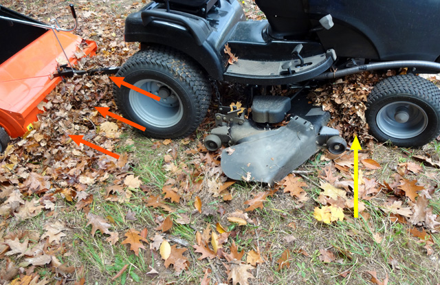 bulldozing of leaves in front of lawn sweeper and tractor's mower deck